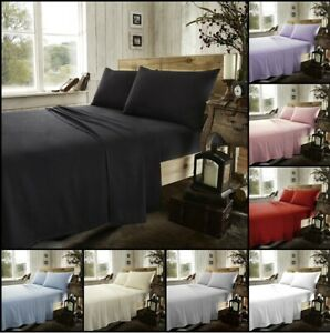 100% Brushed Cotton Thermal Flannelette Fitted Or Flat Bed Sheets Or Pillow Case