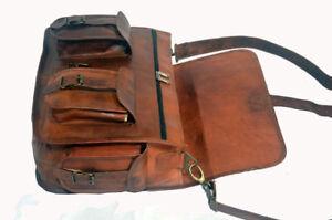 "Handmade Real Goat Leather 15"" Large Briefcase Messenger Laptop Satchel New Bag"