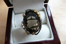 OVAL BROWN SMOKY QUARTZ & GREEN PERIDOT 925 SILVER GOLD RHODIUM RING SZ Q 8.5