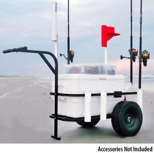 Fishing Cart Wagon Pier Beach Surf w/ Plastic Wheels - Rod Holders, Cooler Rack