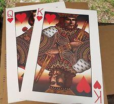 "1990 J.M.W. CHRZANOSKA King & Queen of Hearts 24"" x 36"" Playing Card Art Posters"