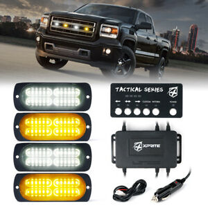 Xprite 4x White/Amber 24 LED Side Marker Strobe Lights Grille Emergency Warning