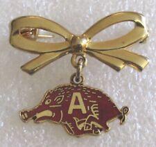 Vintage University of Arkansas Razorbacks Mascot Souvenir Bow Pin
