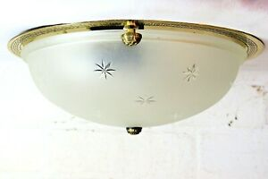 Ceiling Light A Vaughan Flush Mount Cut Glass Dome with Gallery VG and Working
