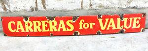 Vintage Cigarette Enamel Sign Carreras For Value Tobacco Company England 1930s