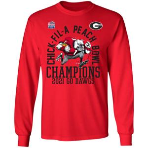 Men's Georgia Bulldogs 2021 Peach Bowl Champions Fair Catch T-Shirt S-5XL