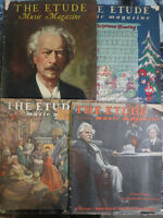 Etude 4 Music Magazine Lot Vintage Variety of Articles & Sheet Music 1930s 1940s