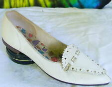 sz 6 M vtg 60s white leather pointy-toe flats shoes Nos