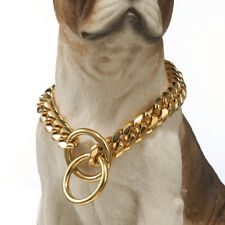 14mm New Strong Gold Tone 316L Stainless Steel Dog Chain Collar Cut Curb Cuban