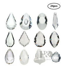 24pcs Clear Glass Crystals Ball Hanging Drops Pendants Chandelier Prisms Parts