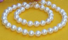 "9-10mm Natural AAA White South Sea Pearl Necklace 18"" 14k Gold Clasp"