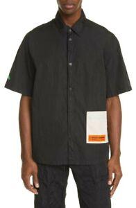 Heron Preston Boxy Fit Black Short Sleeve Nylon Pocket Shirt Size L NWT