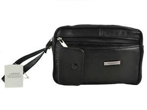 Mens Soft Black Leather Travel Wrist Bag by Lorenz Handy