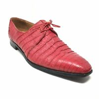 Men's David Eden Italy Oxfords Shoe Size 14 Red Full Genuine Caiman Alligator K1