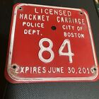 Boston MA Rare License Plate Hackney Carriage No. 84 Police Dept '10 Clean Nice