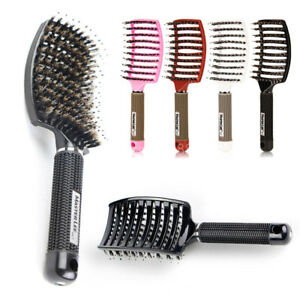 Paddle Comb Scalp Massage Hair Brush Boar Anti-static  Bristle Flexible wet dry