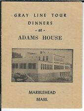 AZ-058 - Marblehead MA, Adams House, Gray Line Tours Mini Menu 1930's-50's