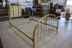 Vintage Refinished Painted Iron Metal Full Size Bed, Gold
