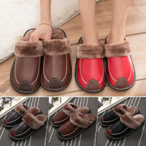 Men's Home Slippers Winter Warm PU Indoor Flats Comfy Close Toe House