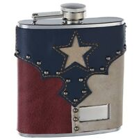 """6oz Leather """"Texas Pride"""" Hip Flask, Free Personalization"""