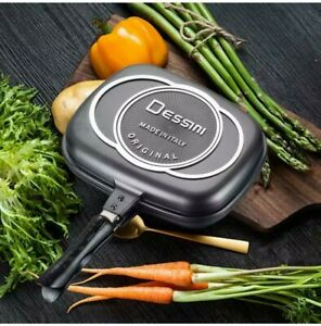 Dessini Double Grill Pan Double Sided Frying Pan Flipping Griddle DieCast 32CM