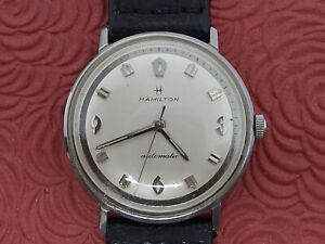 HAMILTON ALL STAINLESS STEEL VINTAGE AUTOMATIC 2-TONE DIAL WRISTWATCH RUNS!!