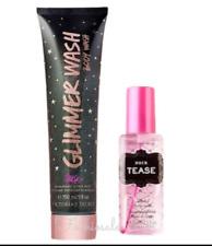 Victorias Secret Noir Tease Body Mist & Glimmer Shimmer Wash Scrub 2 Piece Set