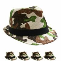 FedHatK33* Fedora Trilby Hats For Kids Beige Color- Gifts Classic Style