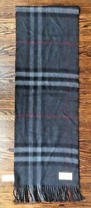 """BURBERRY Giant Check Cashmere-Scotland Fringed Scarf Charcoal 12"""" By 74"""""""
