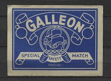 Galleon Special Safety Match Foreign Made Big Vintage Matchbox Label