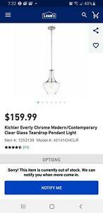 "Kichler 42141CHCLR Everly Single Light 11"" Wide Pendant with Clear Blown Glass S"