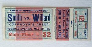 1913 Smith vs Willard Full Ticket Heavyweight Boxing Match