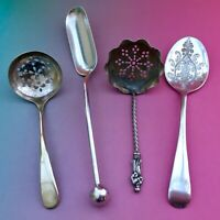 VINTAGE SPOONS & SIFTER LADLES x4 EPNS SILVER PLATE CUTLERY SHEFFIELD