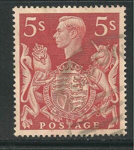Great Britain #250 (A104) XF USED - 1939 5sh King George VI and Royal Arms