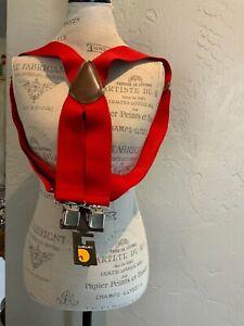 Carhartt Men's Utility clip on suspenders red adjustable