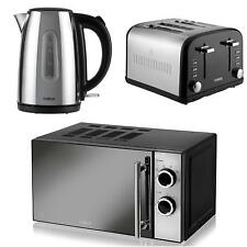 TOWER Silver 1.7L Jug Kettle a Black 4 Slice Toaster and a Black Man Microwave,