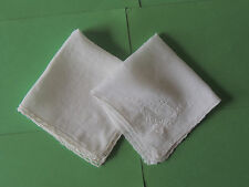 Antique/Vintage Linen Handkerchief 2 Different White