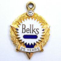 Belk's Employee Service Charm Pendant 25 Years 10K Gold With Diamond Vintage
