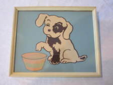 VINTAGE PAINTING OF A BLACK / WHITE DOG AND BOWL - RAISED TEXTURE - POP ART