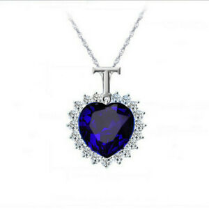 Titanic Heart Ocean Blue Pendant Rhinestone Necklace Silver Colour Blue