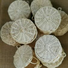 3 Small Woven White Wicker Round Storage Baskets With Lid For Gift Box Decor