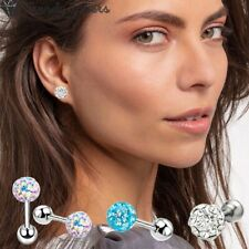 Womens Girls Ball Stud Earrings Screw Back with Cubic Zirconia Surgical Steel