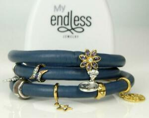 "ENDLESS Blue Leather Triple Wrap Sterling Silver 8 Charm Bracelet 6.5"""