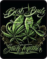 Plush Queen Best Buds Stick Together Pot Leaf Weed Faux Fur Blanket Mary Jane