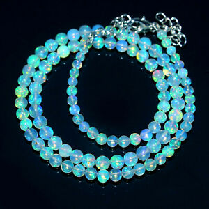 Black Ethiopian Opal Round Ball Gold Plated Gemstone Beads Necklace 4mm 7mm 20