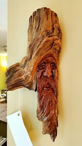 """Ponderosa Pine Carved Knothead by Dave Frampton (11"""" Tall 6"""" Wide)"""