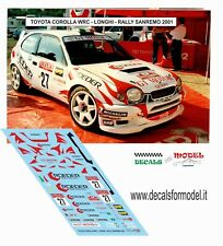DECALS 1/43 TOYOTA COROLLA WRC LONGHI RALLY SANREMO 2001