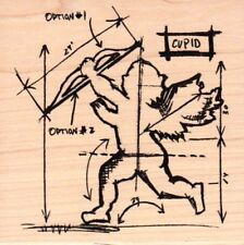 Tim Holtz Collection Cupid sketch guide wood mounted Rubber stamp - New