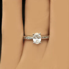 GIA Oval cut Diamond Solitaire with accent Engagement Ring 1.40 CTW 18K