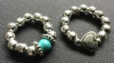 2 X Bijoux 5mm silver ball stretch rings with heart charm And Turquoise boho